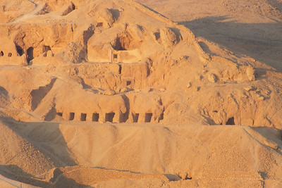 Tombs on the opposite side of the mountain of the Valley of the Kings.  Looking over the Temple of Hatshepsut.