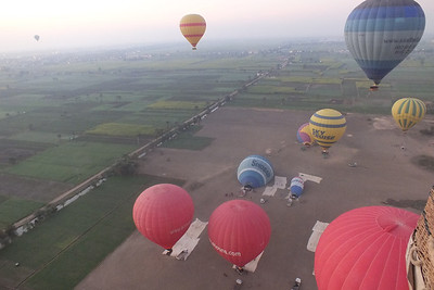 To the left is the Nile Valley and the foreground, is the balloon landing area.