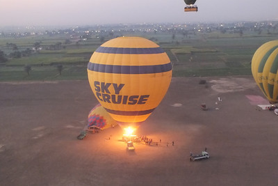 With a balloon, a safe flight has little wind or no wind.   The air is still in the morning so we arrived at the landing site before daun.
