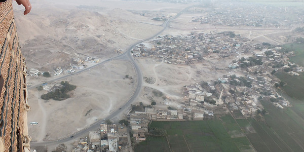 To the left -- Valley of the Nobles where many houses had to be moved in order to excavate forgotten tombs.