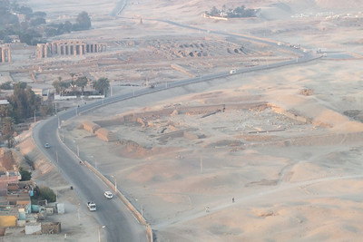 The balloon lifted over the road toward the Mortuary Temple of Hatshepsut and in the distance you could see the  Mortuary Temple of Pharaoh Ramesses II