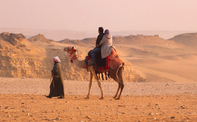 Just to the south of the Giza Pyramids