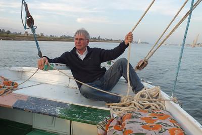 Luxor sailing a Faluka on the Nile