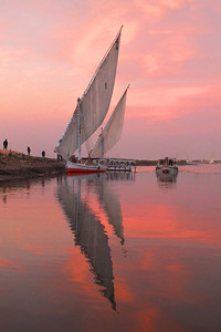 Sunset on the Nile in Luxor a Faluka