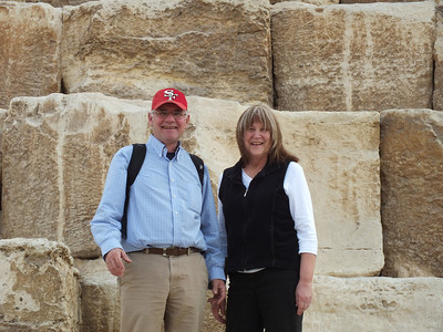 Wearing a 49er hat at the Giza Pyramid of Cheops