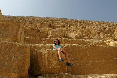 At the second largest pyramid in Giza.  The blocks of stone are huge.  We got to tour the inside of the Pyramid.  Well actually we walked bent over down this long shaft until we got to the burial chamber.  The shaft was hot and humid except at one place where we got a blast of almost air conditioned wind which was from an air vent.