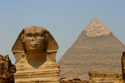 The Sphinx in the foreground.