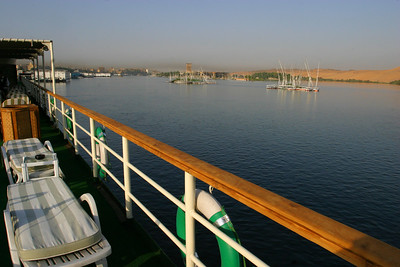 After leaving Cairo, we boarded the Nile Odyssey, a cruise ship at Aswan.  This is on the Nile at Aswan before setting sail downriver.