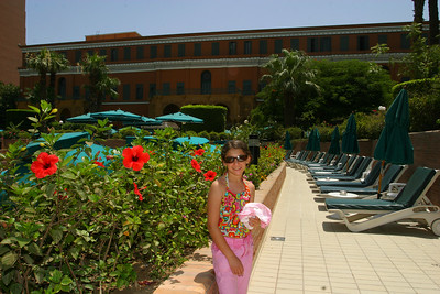 We checked into the Omar Khayyam Marriot in Cairo where Anisa was immediately drawn to the very large swimming pool.  She had to get a swin no matter how tired she was.