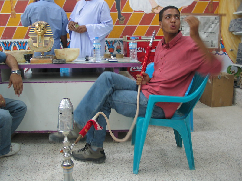 Our Egyptian guide. This time he is smoking tobacco.