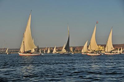 Felucca sailing at sunset on the Nile around Aswan.
