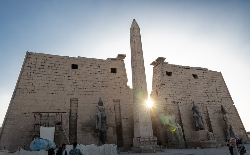 The Sun God, Ra, shines through the Luxor Temple