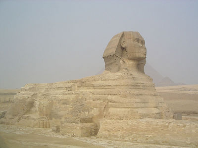 Sphinx, carved out of a solid piece of stone.