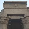 Kom Omba temple of crocodile god and Horus with obligatory sun/cobra entrance symbol
