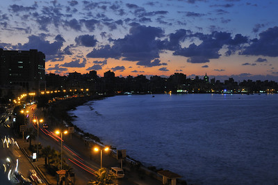 The harbour of Alexandria, at sunset.