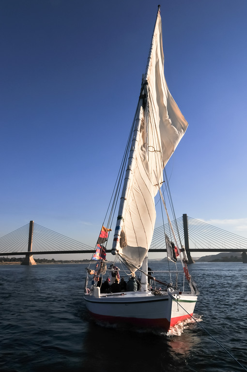 Felucca Sailing - Aswan Bridge, Egypt