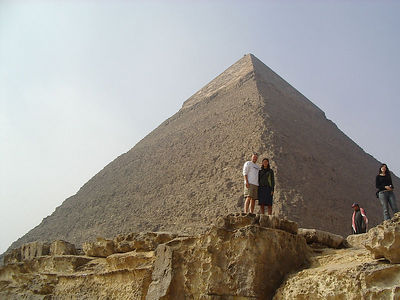 Tanya and Caleb in front of the Pyramid of Khafren.