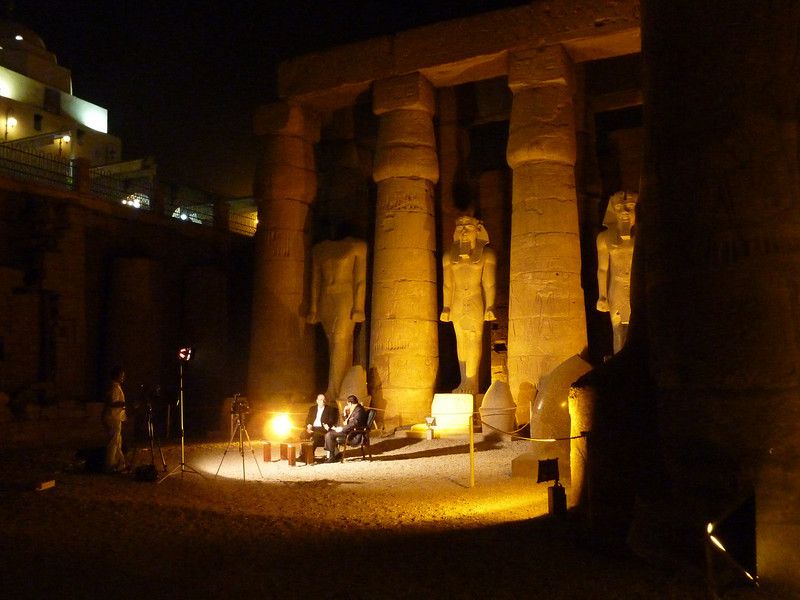 Live TV interview of the Luxor mayor taking place inside the Karnak Temple complex.