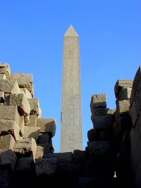 One of two massive granite obelisks raised by order of the New Kingdom female Pharaoh Hatshepsut, at the Temple of Karnak.