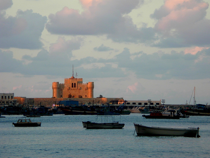 Crimson sunset over Fort Qaitbey and the Eastern Harbour, Alexandria.