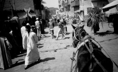 Street Scene in Karnak.  I was on a horse drawn buggy on the way to the Karnak Hotel.  The cost there was seven Egyptian pounds a night (about five dollars), in 1984.