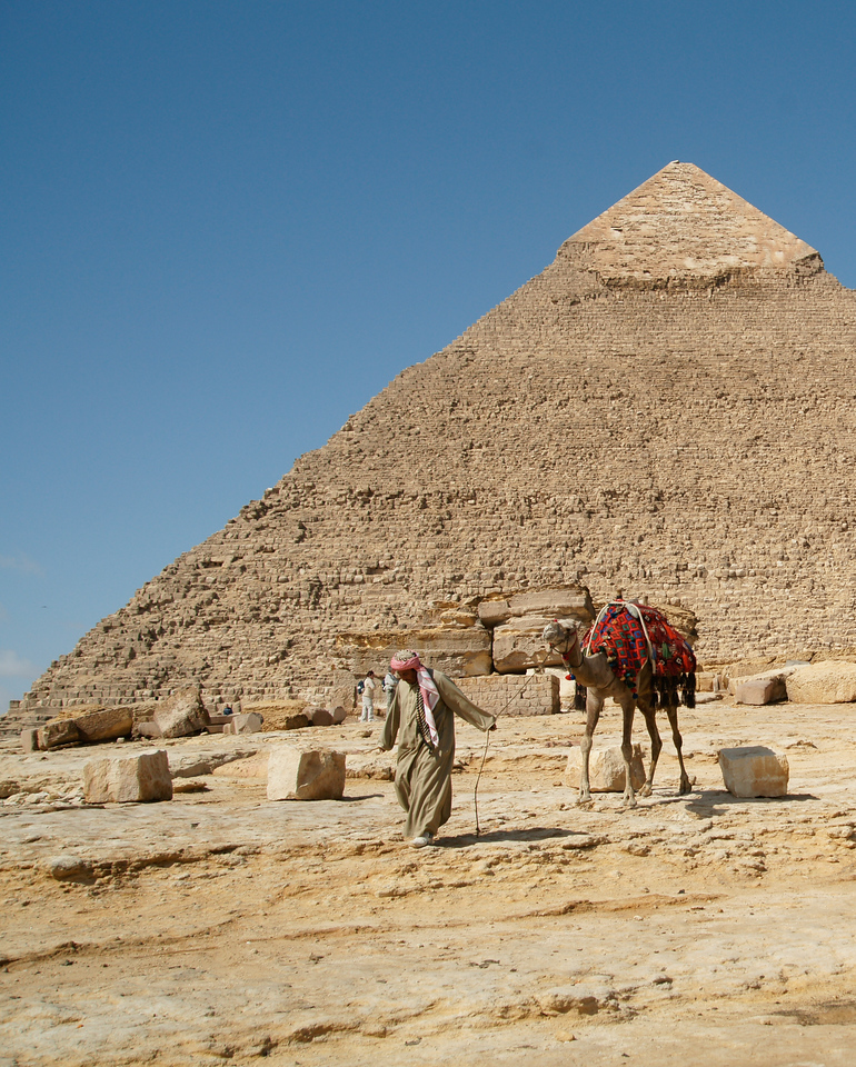 Man Leading Camel at the Pyramids