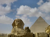 Great Sphinx and Pyramid of Khafre, Giza.