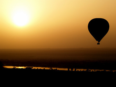 Up, up and away. Ballooning over the Valley of the Kings, Egypt, at sunrise.
