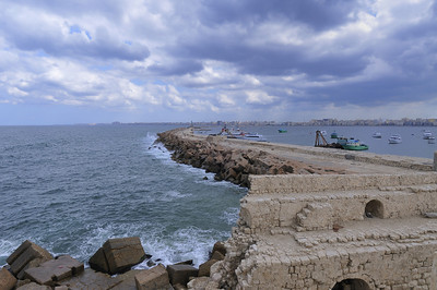 Part of the old sea wall in Alexandria, Egypt