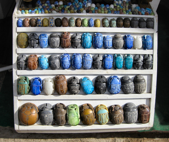 Scarab beetles, bazaar, Aswan.