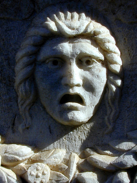 Not happy, Jan! Detail of a Roman-era marble sarcophagus in the courtyard of the Graeco-Roman Museum, Alexandria.