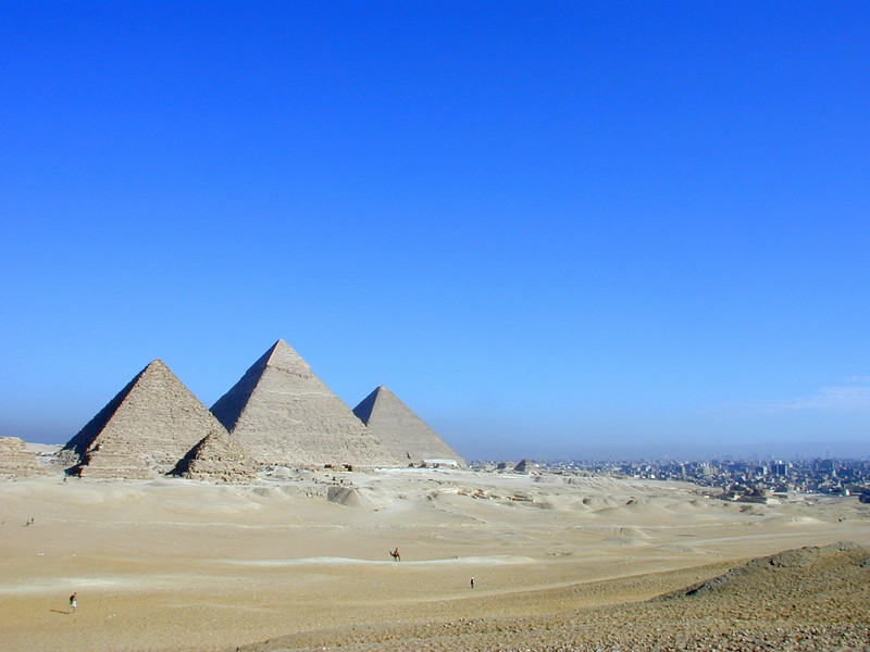 The pyramids at Giza. Cairo is the grey agglomeration immediately to the right.