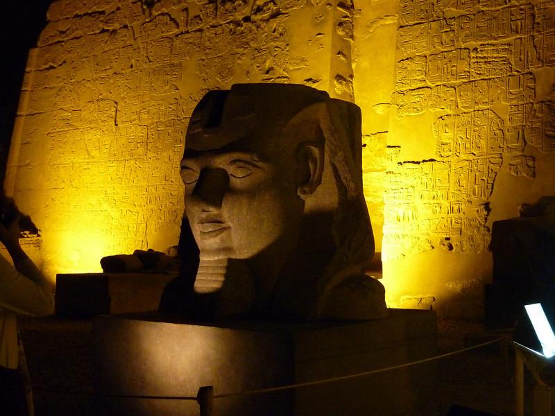 Karnak Temple entrance gate at night.