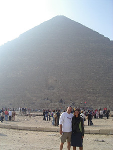 Caleb and Tanya in front of the Pyramid of Cheops, in Giza.