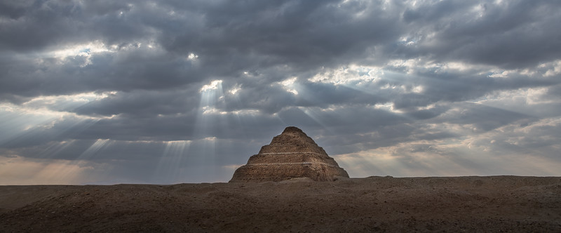 Sometimes I just get lucky when I am out photographing, sometimes I have to make my luck. While we were leaving a spot in Egypt on our bus I saw this scene of Godbeams breaking through the clouds just above the stepped pyramid of Saqqara. I shouted out to our tour director for the bus to stop, which thankfully he did. I jumped out and ran to where I could line up the pyramid in the foreground with the Godbeams breaking above. The rest of the tour group was not happy with me for forcing this stop, but hey, I think this is my favorite image from the tour.