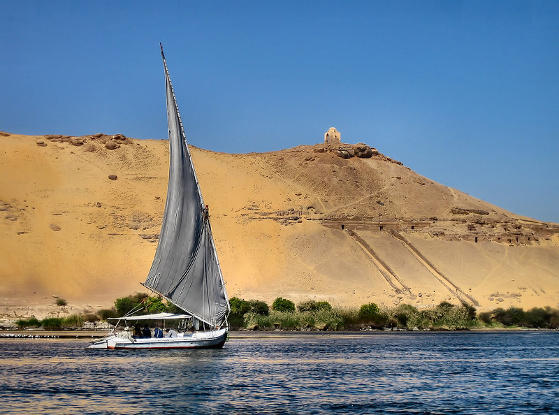 Felucca (traditional wooden sailing boat) on the river Nile.