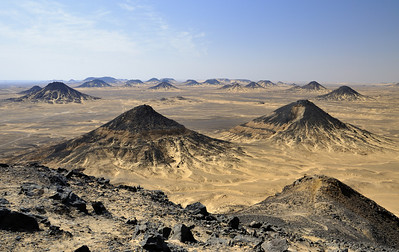 Extinct volcanoes in the Black Desert.