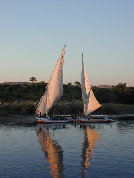 Feluccas on the Nile near Kom Ombo.