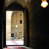 Looking into the central courtyard of the Mosque-Madrassa of Sultan Hassan, Cairo.