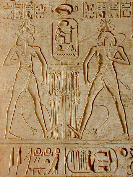 Detail of a relief carving on the side of one of the monumental figures of Ramses II flanking the entrance to the Temple of Abu Simbel.