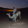 "It started to get dark when we got to the village.  Here Po Yee's camel started the ""landing"" maneuver."