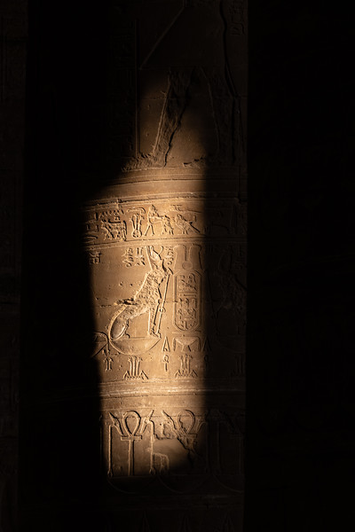 Temple column partially illuminated