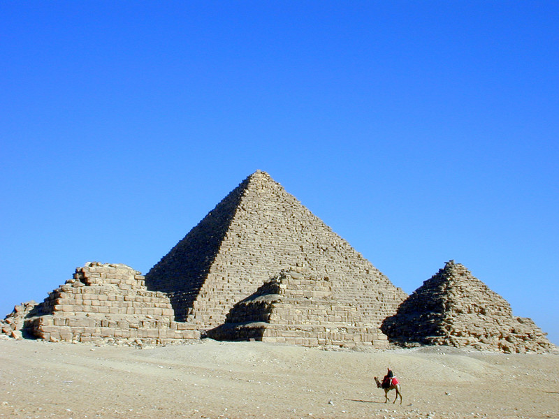 The Pyramid of Menkaure, with three Queen's Pyramids, Giza.