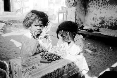 Little girls in the bright sun on an Island in the Nile near Aswan.