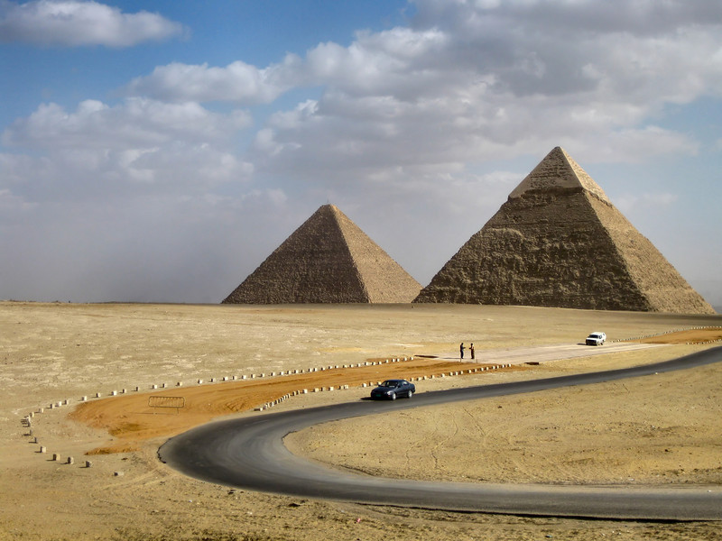Great Pyramid or Pyramid of Cheops (left), and Pyramid of Khafre (right), Giza.