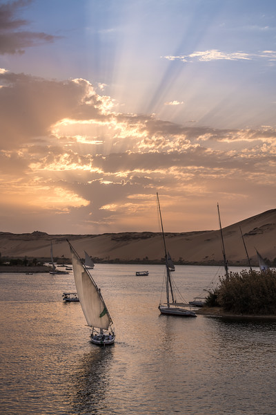 And what would a trip to Egypt be without a sunset on the Nile? And of course you would have to have one of those traditional small wooden boats, a felucca, in the foreground to complete the postcard picture!