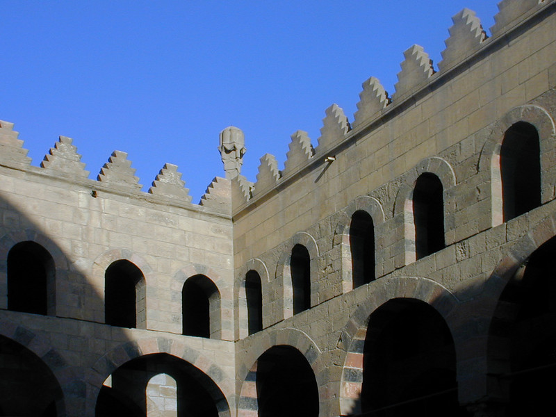 Corner detail of the collonaded courtyard and parapet of the 14th century Mosque of An-Nasir Mohammed, at the Citadel, Cairo.