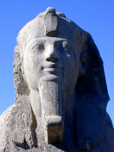 Face of the alabaster sphinx at Memphis, near Saqqara.