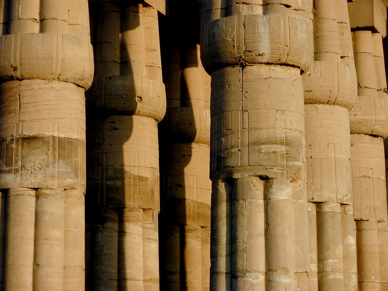 Forest of gigantic stone columns at Luxor Temple.
