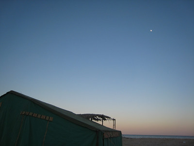 The moon rising over our campsite.